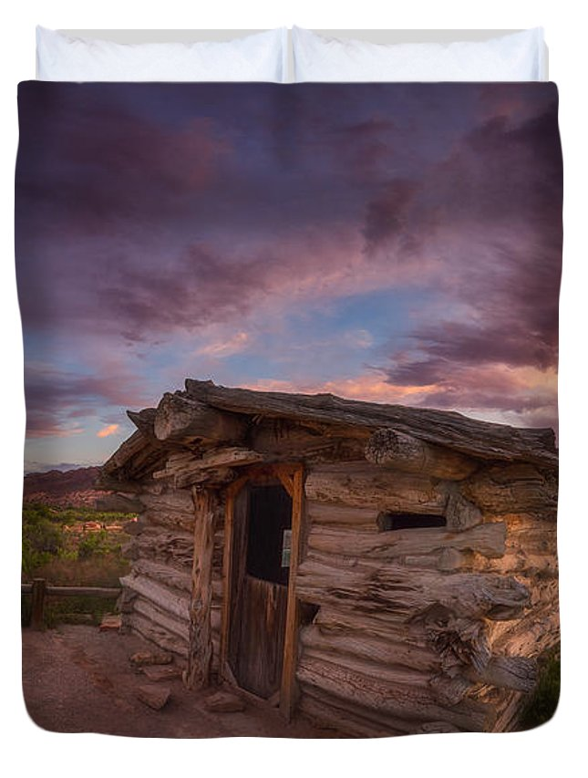 Moab Duvet Cover featuring the photograph The Delicate Little Cabin by Darren White