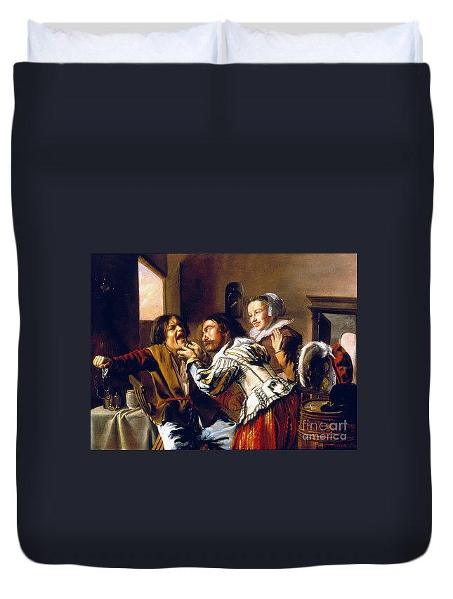 1629 Duvet Cover featuring the photograph The Dentist, 1629 by Granger