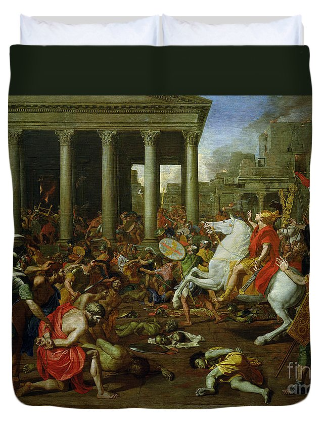 The Duvet Cover featuring the painting The Destruction Of The Temples In Jerusalem By Titus by Nicolas Poussin
