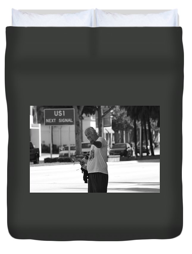 Black And White Duvet Cover featuring the photograph The Devil Man by Rob Hans
