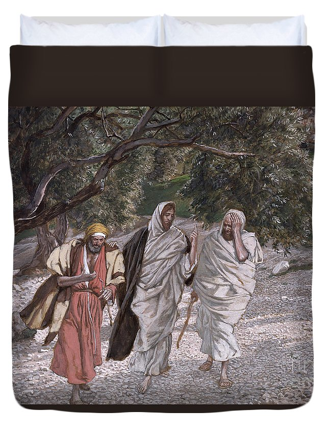 The Duvet Cover featuring the painting The Disciples On The Road To Emmaus by Tissot