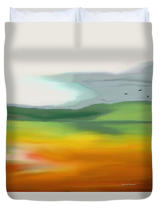 Abstract Duvet Cover featuring the painting The Distant Hills by Lenore Senior