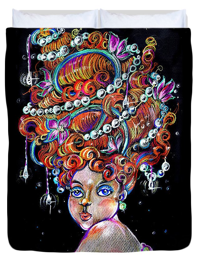 Art Duvet Cover featuring the drawing The Diva by Nada Meeks