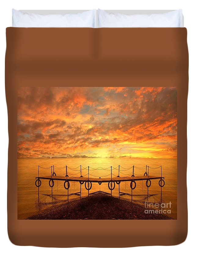 Waterscape Duvet Cover featuring the photograph The Dock by Jacky Gerritsen