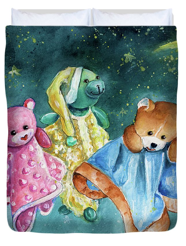Truffle Mcfurry Duvet Cover featuring the painting The Doo Doo Bears by Miki De Goodaboom