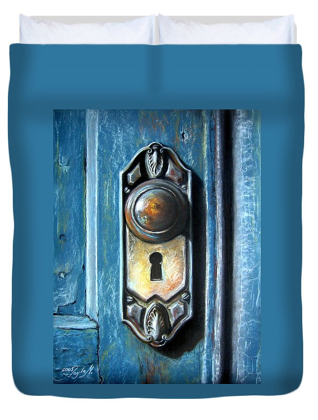 Door Knob Duvet Cover featuring the painting The Door Knob by Leyla Munteanu
