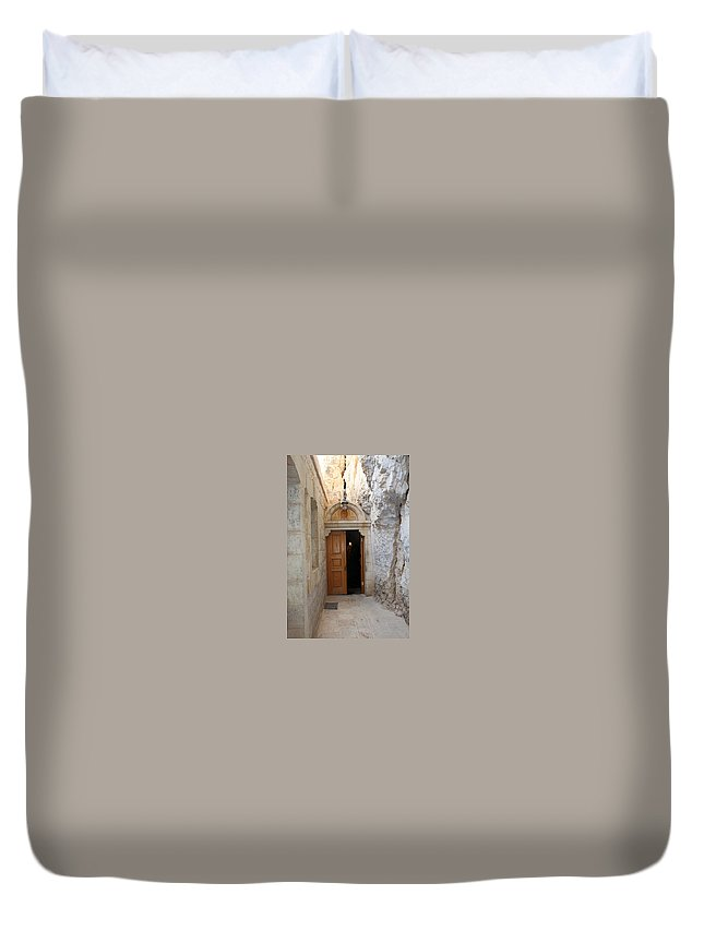 Photograph Duvet Cover featuring the photograph The Door by Munir Alawi