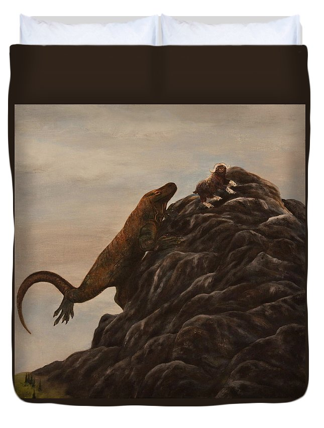 Komodo Dragon Duvet Cover featuring the painting The Dragon And The Ox by Michelle Miron-Rebbe
