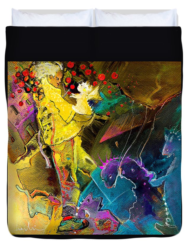 Fantasy Duvet Cover featuring the painting The Dragon Nursery Under The Apple Tree by Miki De Goodaboom
