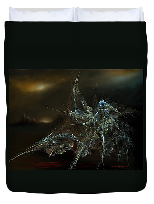 Dragon Warrior Medieval Fantasy Darkness Duvet Cover featuring the digital art The Dragon Warrior by Veronica Jackson