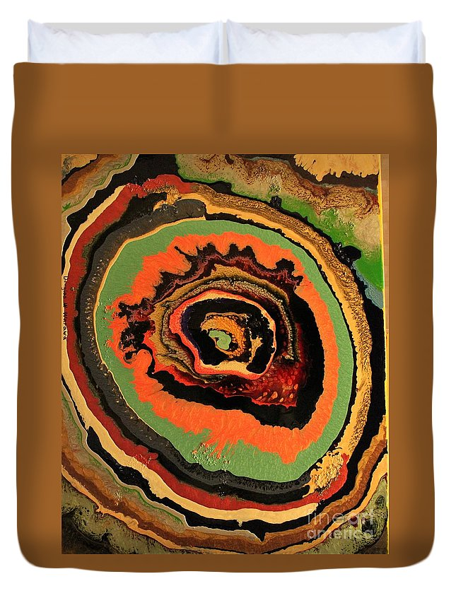 Abstract Duvet Cover featuring the painting The Dragons Eye by Douglas W Warawa