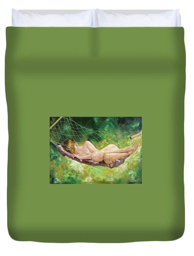 Oil Duvet Cover featuring the painting The Dream In Summer Garden by Sergey Ignatenko