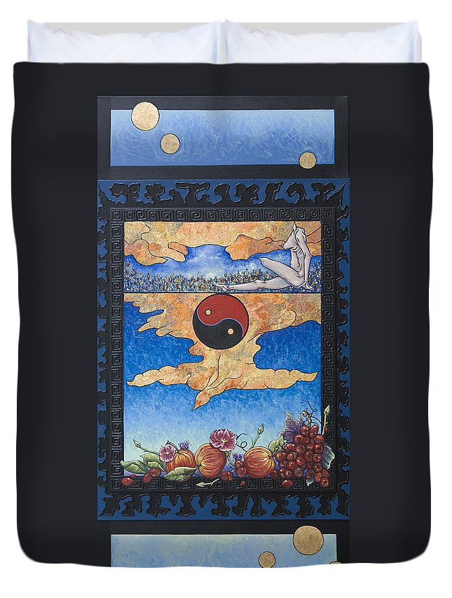 Karma Duvet Cover featuring the painting The Dream by Judy Henninger