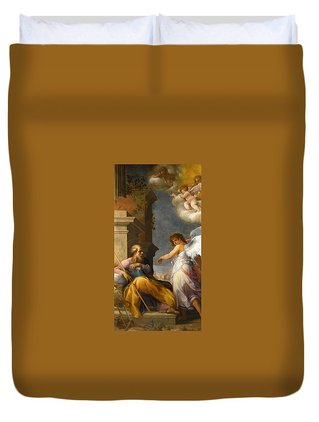 Giovanni Baglione Duvet Cover featuring the painting The Dream Of Saint Joseph by Giovanni Baglione