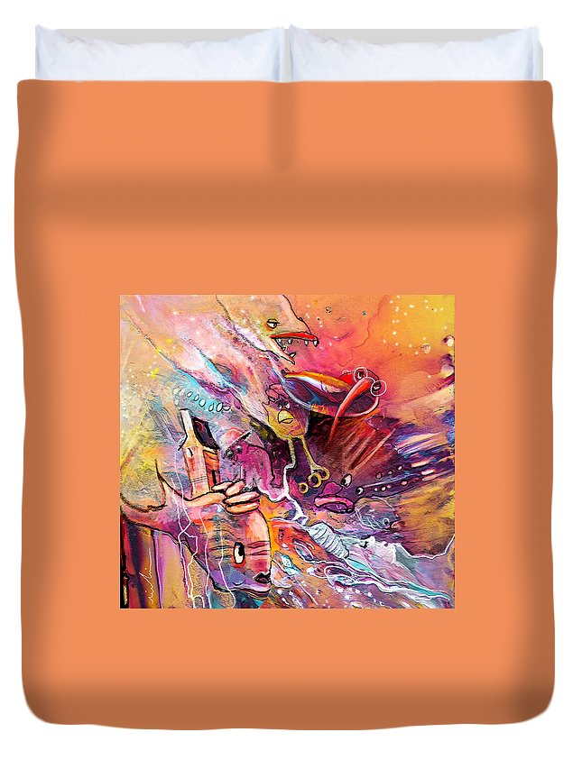 Fantasy Duvet Cover featuring the painting The Dream Of The Fish That Caried His House On His Back by Miki De Goodaboom