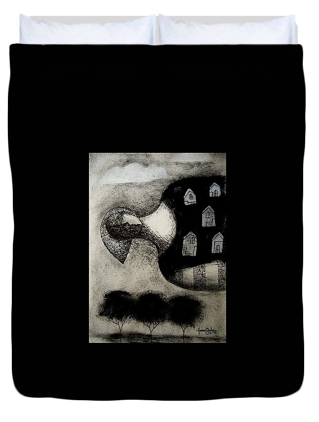 Mixmedia Duvet Cover featuring the drawing The Dream by Osvaldo Herrera Graham