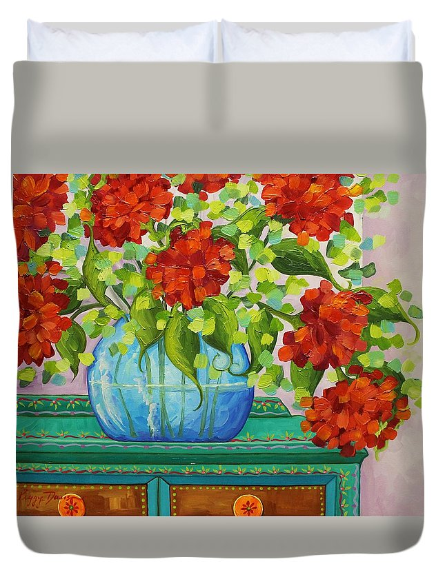 Flowers Duvet Cover featuring the painting The Dresser by Peggy Davis