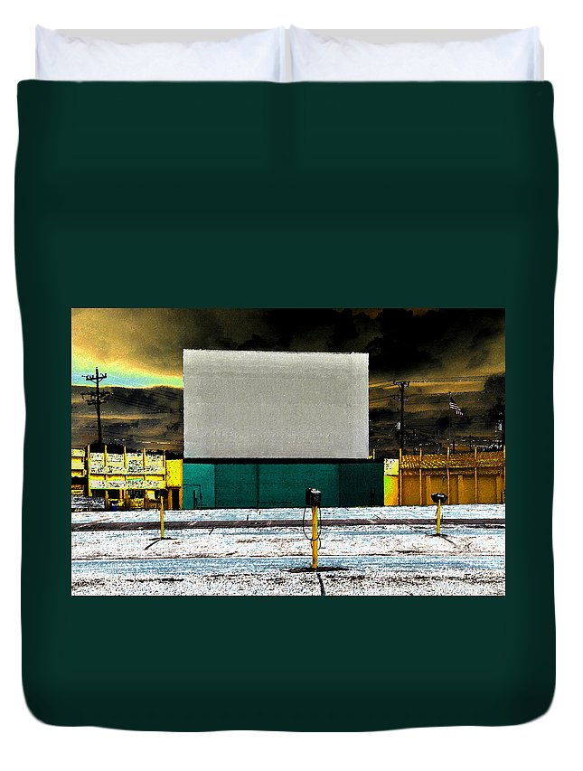 Art Duvet Cover featuring the painting The Drive In by David Lee Thompson
