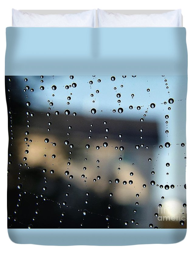 Water Duvet Cover featuring the photograph The Droplet Curtain by Dee Winslow
