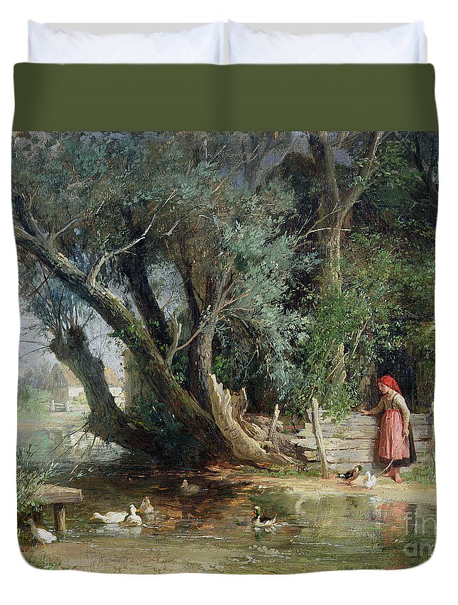 The Duck Pond By Eduard Heinel Duvet Cover featuring the painting The Duck Pond by Eduard Heinel