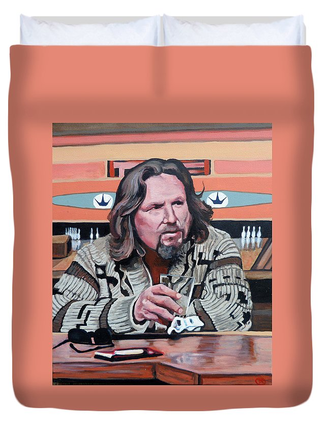 Dude Duvet Cover featuring the painting The Dude by Tom Roderick