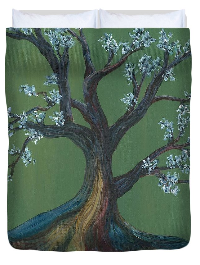 Tree Duvet Cover featuring the painting The E Tree by Laura Lobner