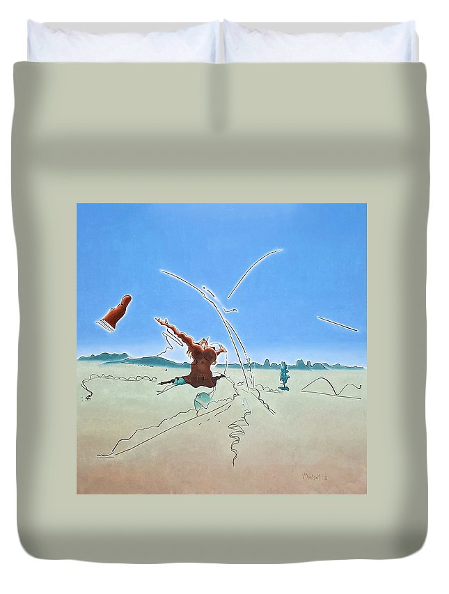 Oil Duvet Cover featuring the painting The Ecstasy by Dave Martsolf