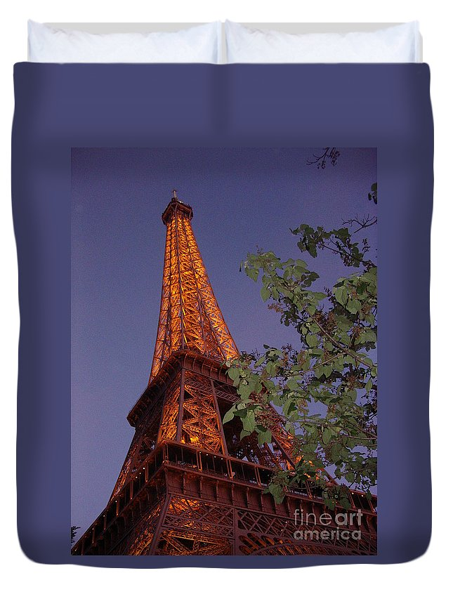Tower Duvet Cover featuring the photograph The Eiffel Tower Aglow by Nadine Rippelmeyer