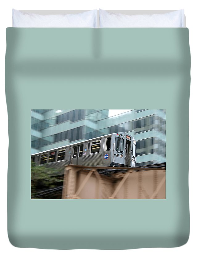 Cta Duvet Cover featuring the photograph The El by Laura Kinker