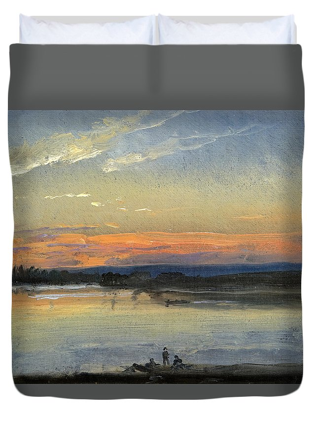 Johan Christian Dahl Duvet Cover featuring the painting The Elbe In Evening Light by Johan Christian Dahl