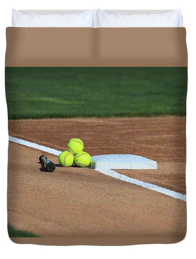 Softball Duvet Cover featuring the photograph The Elements by Laddie Halupa