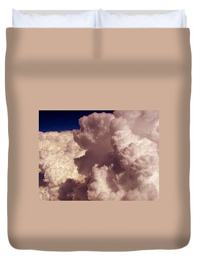 Sky Animals Duvet Cover featuring the photograph The Elf And Schnauzer At 33k by Strato ThreeSIXTYFive