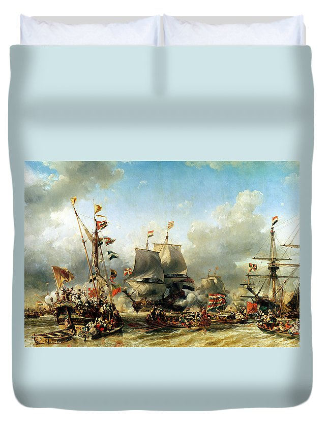 The Duvet Cover featuring the painting The Embarkation Of Ruyter And William De Witt In 1667 by Louis Eugene Gabriel Isabey
