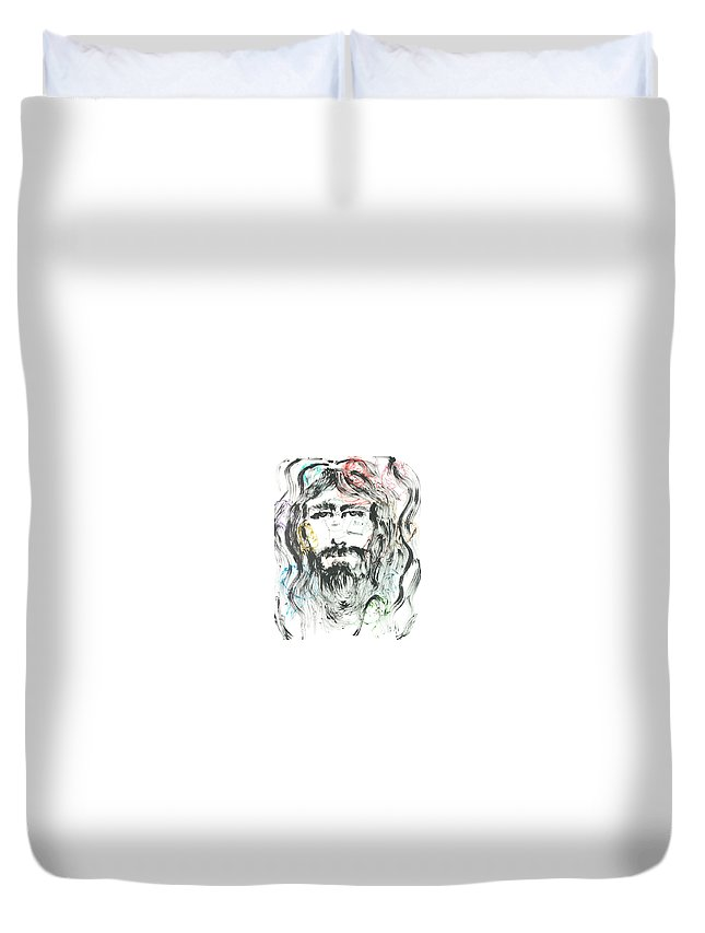 Jesus Duvet Cover featuring the painting The Emotions of Jesus by Nadine Rippelmeyer