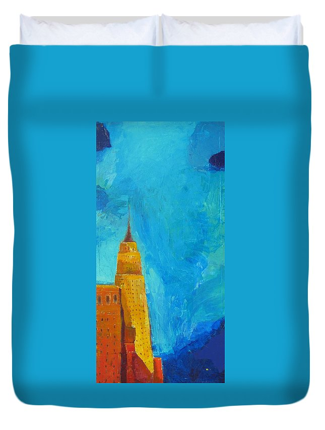 Abstract Cityscape Duvet Cover featuring the painting The Empire State by Habib Ayat