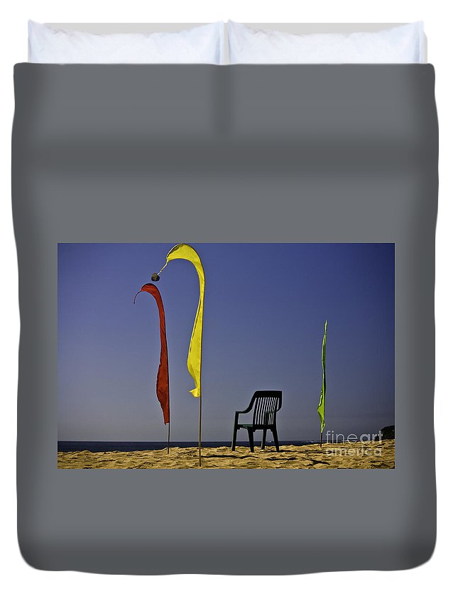 Beach Duvet Cover featuring the photograph The empty chair by Sheila Smart Fine Art Photography