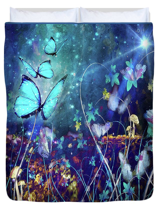 Enchanted Duvet Cover featuring the digital art The Enchanted Garden by M M Rainey