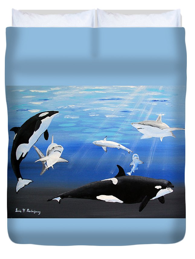Killer Whales Duvet Cover featuring the painting The Encounter by Luis F Rodriguez