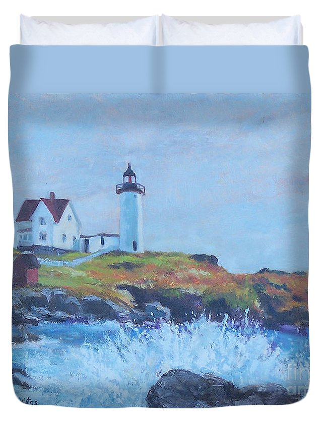 Coastal Duvet Cover featuring the painting The End Of Summer- Cape Neddick Maine by Alicia Drakiotes