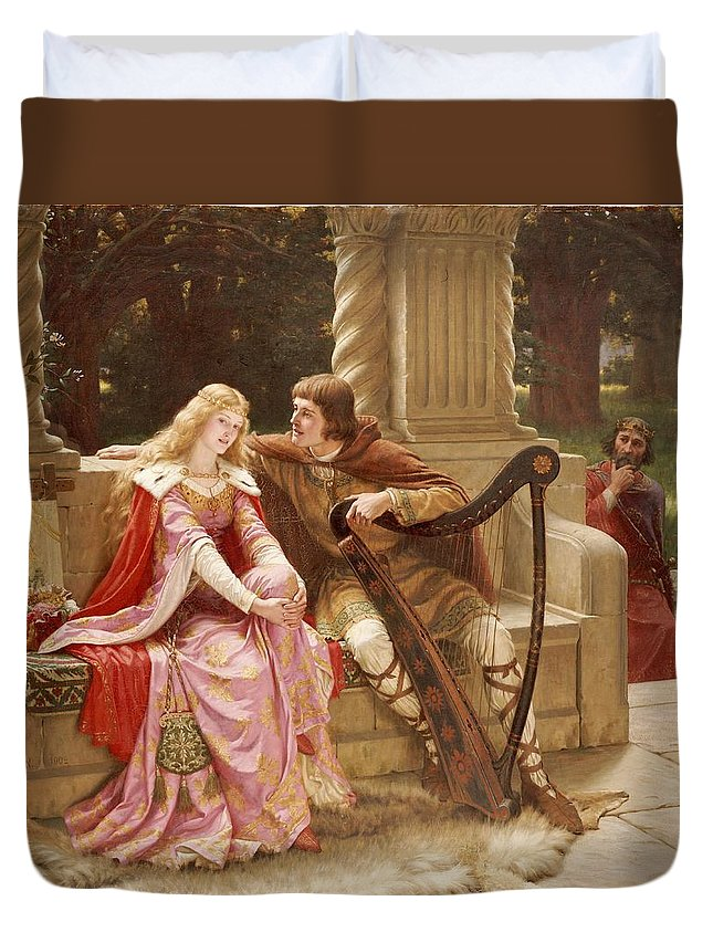 Valentine's Day Duvet Cover featuring the painting The End Of The Song by Edmund Blair Leighton