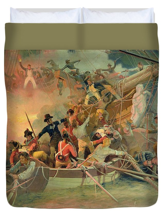 The English Navy Conquering A French Ship Near The Cape Camaro Duvet Cover featuring the painting The English Navy Conquering A French Ship Near The Cape Camaro by English School