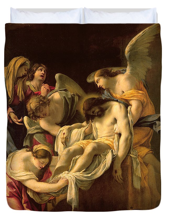 The Entombment (oil On Panel) By Simon Vouet (1590-1649) Duvet Cover featuring the painting The Entombment by Simon Vouet