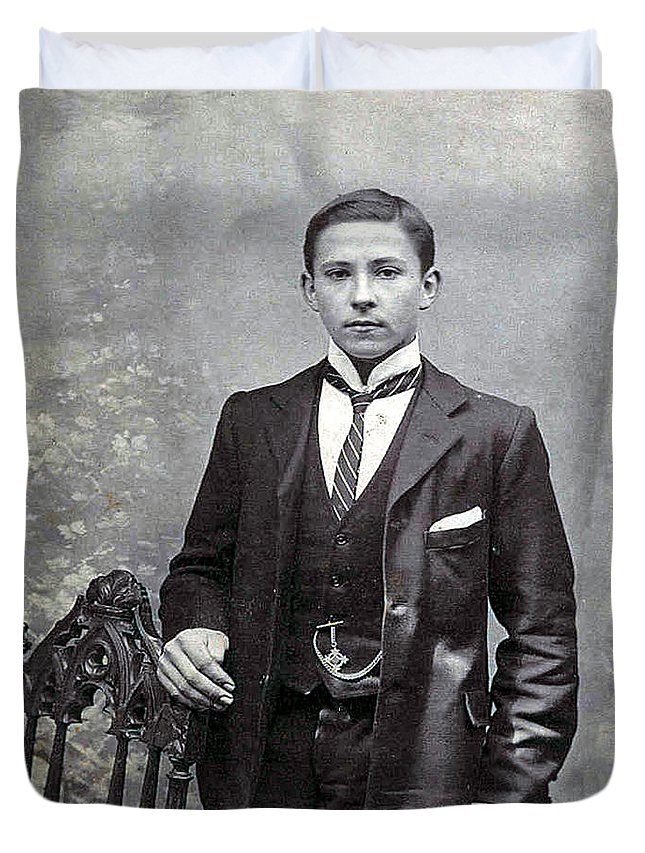 Old Photo Black And White Classic Saskatchewan Pioneers History Young Man Boy Duvet Cover featuring the photograph The Entreprenuer by Andrea Lawrence