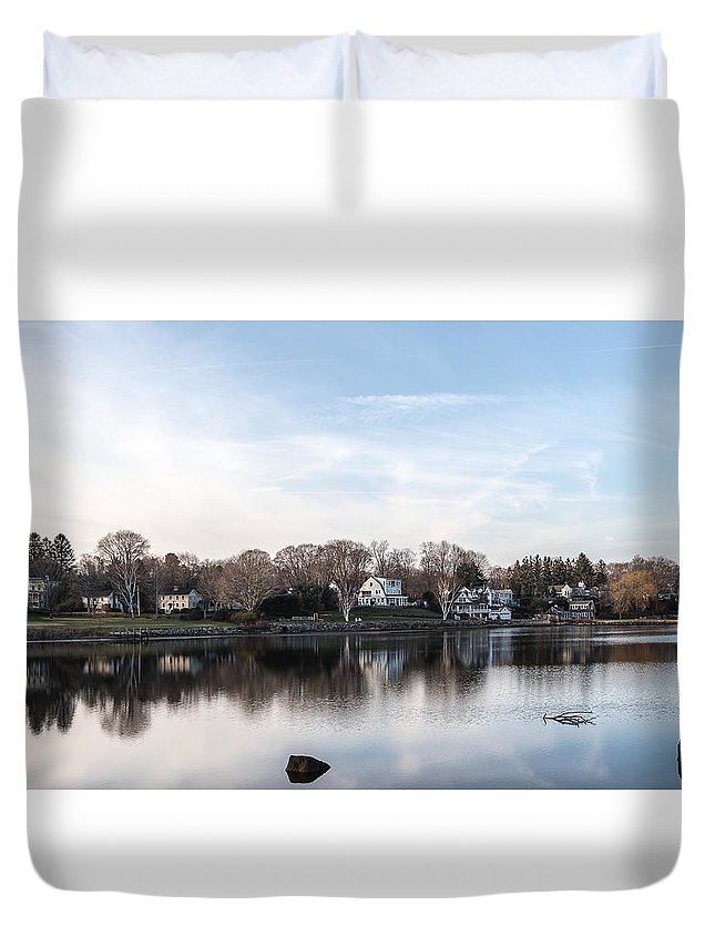 Landscape Duvet Cover featuring the photograph The Essex Connecticut Cove by Ted Jennings
