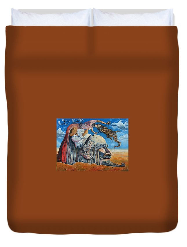 Surrealism Duvet Cover featuring the painting The Eternal Obsession Of Don Quijote by Darwin Leon
