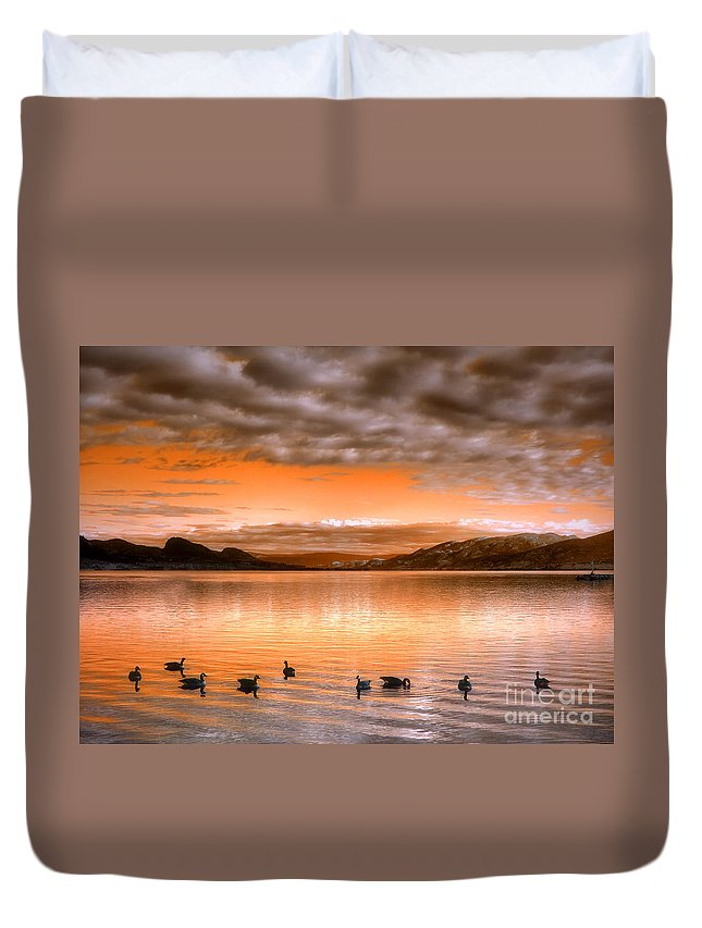 Clouds Duvet Cover featuring the photograph The Evening Geese by Tara Turner