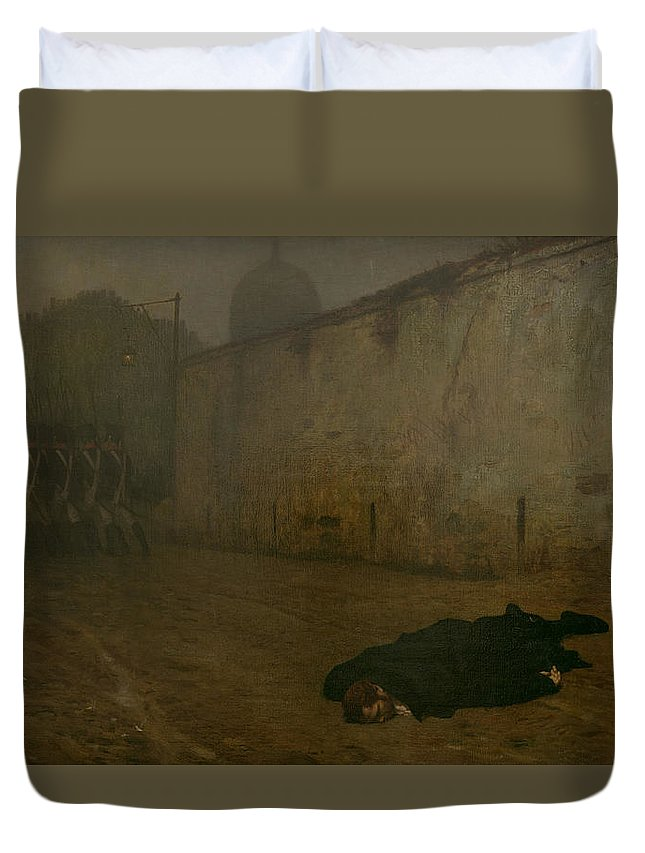 Firing Squad; French; Napoleonic; Death; Dead; Corpse; Execution; Executed; Marshal Ney; Shot; Treason Duvet Cover featuring the painting The Execution Of Marshal Ney by Jean Leon Gerome