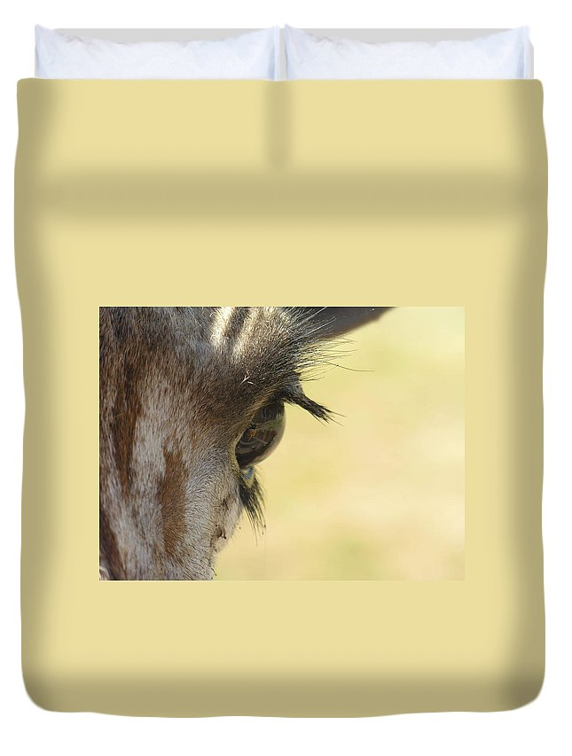 Giraffe Duvet Cover featuring the photograph The Eyes Have It by Diane Greco-Lesser