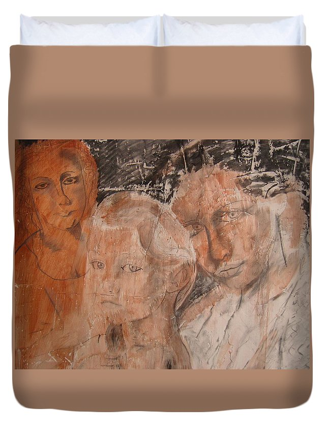 Beautiful Duvet Cover featuring the drawing The Eyes of Alianna by J Bauer