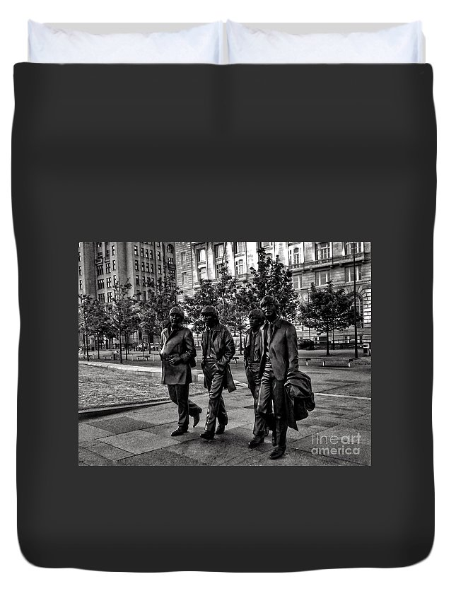 The Beatles Duvet Cover featuring the photograph The Fab Four In Black And White by Joan-Violet Stretch